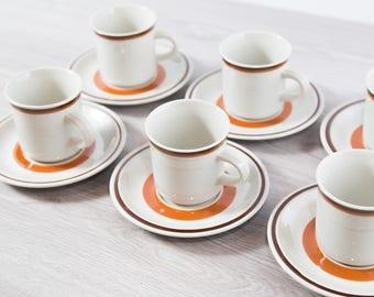 Vintage Coffee Cups / Set of 6 Aztec Haniwa Stone Genuine Stoneware / Made in Japan / Geometric Design Earthtone Orange Brown Primitive