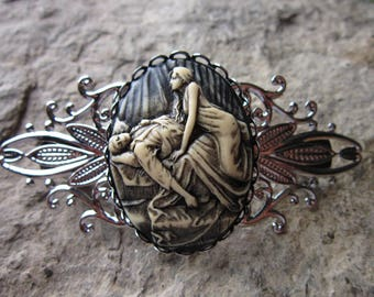 Hand Painted Succubus Cameo Silver Filigree Barrette - Vampire, Vampiress - Handmade - Hair Accessory  - Accessory