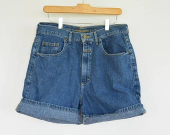 "Girbaud denim Shorts Women's Size 11/12 vintage 90's high Waist/Rise Marithe Francois Girbaud Medium Wash Denim Shorts 32"" waist"