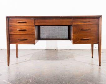 mid century modern desk broyhill emphasis brasilia cane back vintage danish office walnut office brown saltman