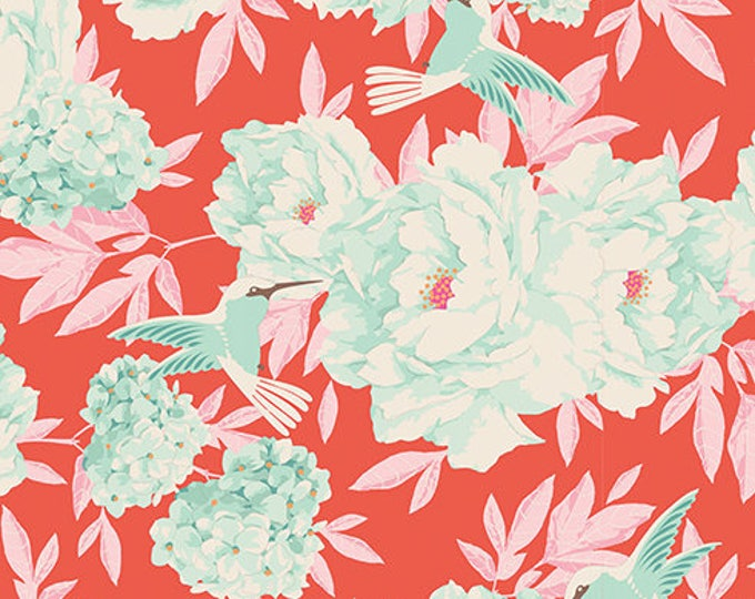 TILDA LEMONTREE - Hummingbird Coral 100002 - 1/2 yard