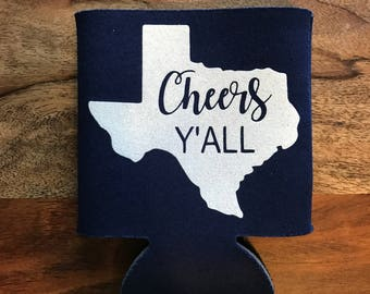 Custom Texas Cheers Y'all and Texas Longhorns Hook 'Em Can Cooler Combination