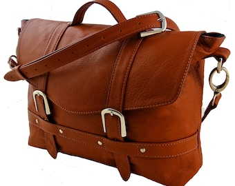 Tan Brown Leather Midi Satchel - Can be Personalized