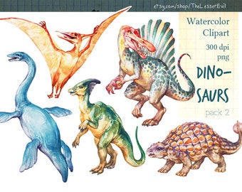 Dinosaurs Clipart, Digital Watercolor Illustration, Dinosaur Clip Art, Hand Drawn Dino, Stock Illustration, Commercial use