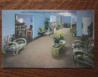 Vintage Linen Postcard, Vista Del Mar Restaurant, San Franciso History, California,Fisherman's Wharf,Retro Vacations,Tourism,Souvenir,Kitsch