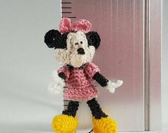 Minnie Mouse in a Pink Dress, Crochet Amigurumi Miniature