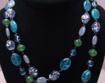 Ocean's Blue Glass bead Neckalce