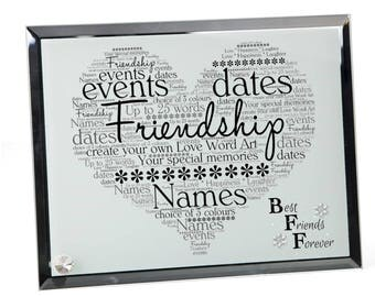 Friendship Personalised Word Art Glass Plaque