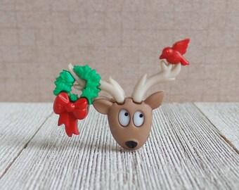 Christmas Wreath and Bird - Reindeer - Holidays - Santa - Cardinal - Winter - Lapel Pin