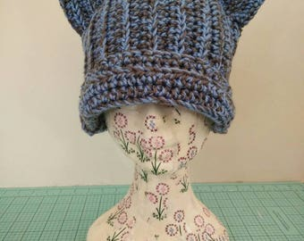 Grey Blue Crocheted Kitty Ear Beanie