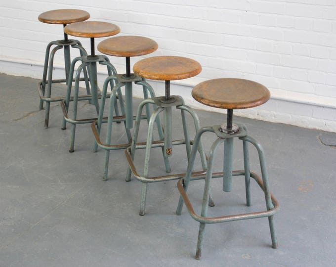 Industrial Swivel Stools By L'Sautereau Circa 1950s