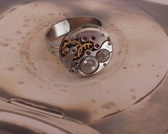 Ladies vintage watch movement ring