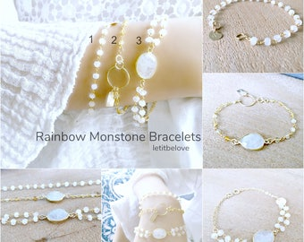 rainbow moonstone bracelets moonstone jewelry moonstone gemstone bracelets personalized bracelets stacking layering boho chic jewelry beach