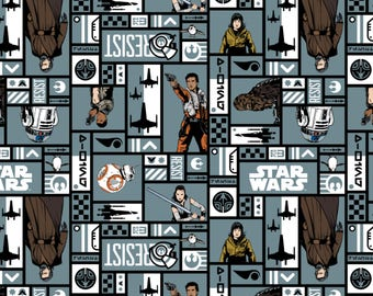 Star Wars: The Last Jedi Fabric Resistance Heroes in Lead From Camelot 100% Cotton