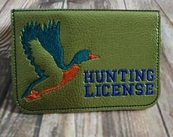 Duck Hunting License Holder - ID - Business Card - 5 x 7 Only - In the hoop - DIGITAL Embroidery Design