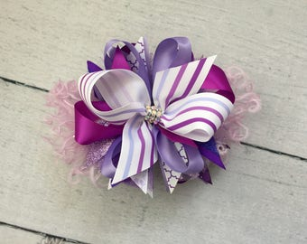 Purple stripes bow
