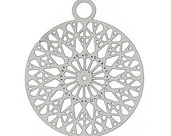 Silver filigree charms circle stamp 2 X