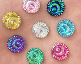 X 10 Cabochons swirls mix color resin 12mm