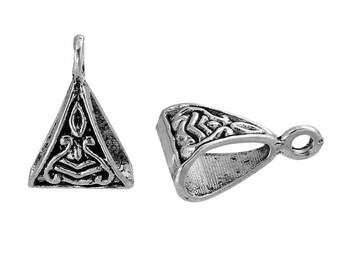 X 5 Silver triangle bails Tibetan 15X10mm