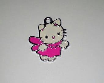 X 1 cat kitty Angel pink enamel 25mm