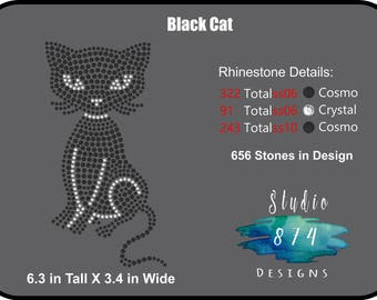 Black Cat Rhinestone Transfer Template Pattern Stencil DOWNLOAD ONLY - Kitty - Sticky Flock - SVG