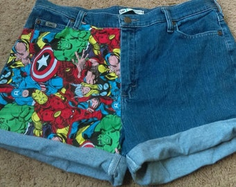 One Sided Marvel Comic High Waisted Shorts - Size 14
