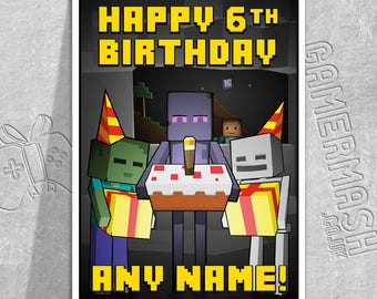 PERSONALISED BIRTHDAY CARD - Monster Surprise - Minecraft Themed