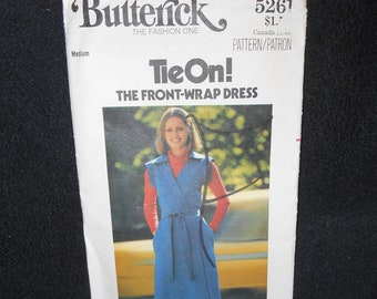 Butterick 5261 Front Wrap Dress Womens Medium Sizes 12-14 Tied V neck pockets