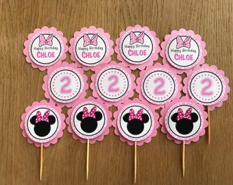 Minnie Mouse Personalised Cupcake Toppers - Pink - Minnie Birthday, Baby Shower, Christening