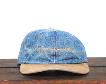 Vintage 90's Perfectly Worn Denim Jean Weyerhaeuser Forest Products Unstructured Strapback Hat Baseball Cap