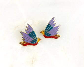Vintage Laurel Burch Celeste Bird Earrings