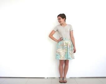 World map skirt in cotton blue world map fabric, atlas skirt, bridesmaid skirt, kitsch skirt in map fabric, spring skirt, map clothing