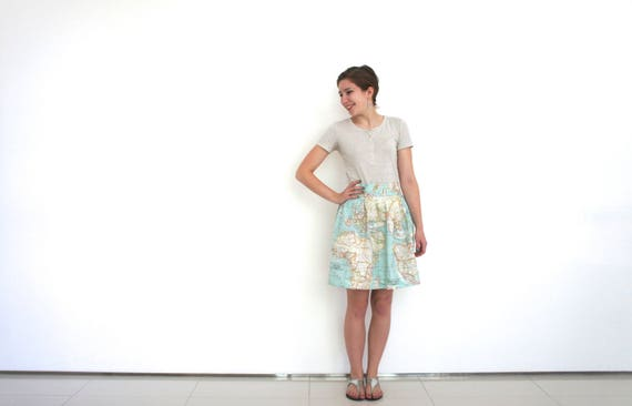 World map skirt in cotton blue world map fabric atlas skirt like this item gumiabroncs Images