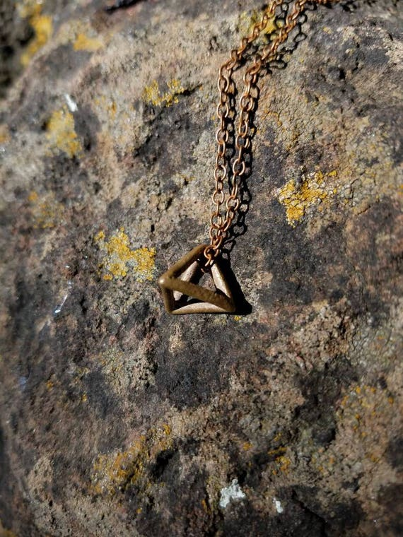 Tetrahedron Platonic Solid Bronze Pendant with Chain