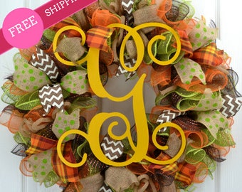 Free shipping Wreath - Deco Mesh Fall Wreath - Fall Mesh Wreath, Fall Front Door Wreath, Fall Wreaths for Front Door, Fall Wreath Deco Mesh