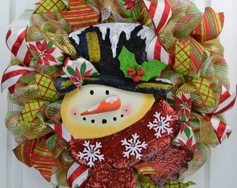 Snowman Wreath - Snowman Mesh Wreath - Snowman Christmas Wreath - Christmas Snowman Wreath - Mesh Snowman Wreath - Snowman Door Wreath