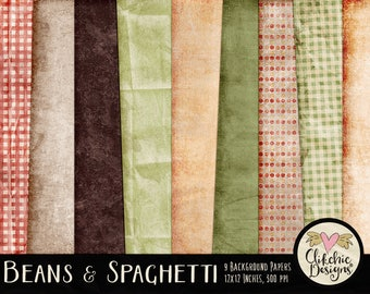 Cooking Digital Paper Pack - Beans & Spaghetti Grunge Digital Scrapbook Paper - Digital Background Papers