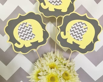 Elephant Centerpiece in Yellow and Gray, Elephant Baby Shower Decoration