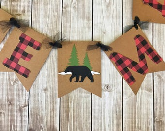 Little Man Lumberjack Banner, Little Man Buffalo Plaid Banner, Lumberjack Baby Shower Decorations