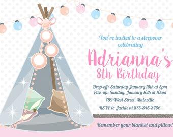 Sleepover, Teepee, Glamping, Slumber Party, Pajama Party, Birthday Invitation - Printable or Printed