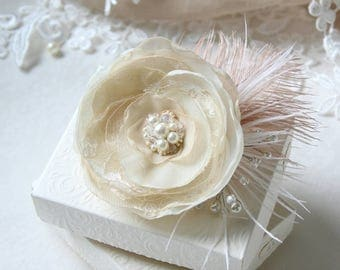 Flower with Feathers - Bridal Headpiece - Flower Hair Accessory  - Flower Hair Clip - Ivory Beige Hairpieces - Bridesmaids Clips