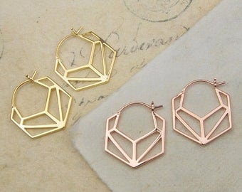 ON SALE NOW Earrings - Geometric Earrings - Gold Earrings - Minimal Earrings - Hoops - Hoop Earrings, Simple Earrings, Modern Earrings, Rose