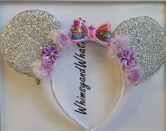 Silver with Rainbow Sequin bow and organza and satin flowers