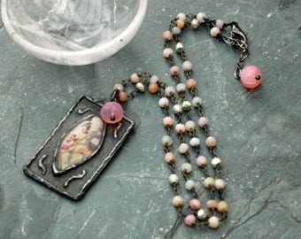 Strong Women; Vintage Picture Pendant; Gemstone Necklace with Pink Opal and Pyrite; Long Pink Necklace