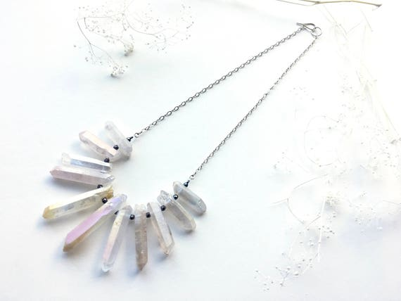 White Quartz, Hematite and Sterling Silver Statement Necklace //