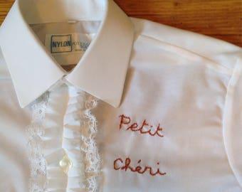 Vintage frilled boy 4t shirt embroidered little Darling