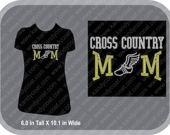 Cross Country Mom Bling Rhinestone Tee
