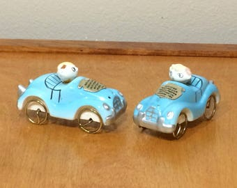 Rolling Race Car Salt and Pepper Shakers 1950's