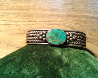 Vintage Native American silver and Turquoise Cuff
