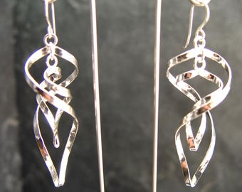 Sterling Silver Earrings Artisan Made 3D Swirl In Swirl Design Fun and Flirty